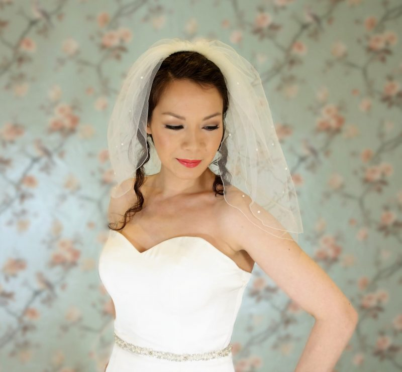 Two tier Pearl Stitched Edge Veil