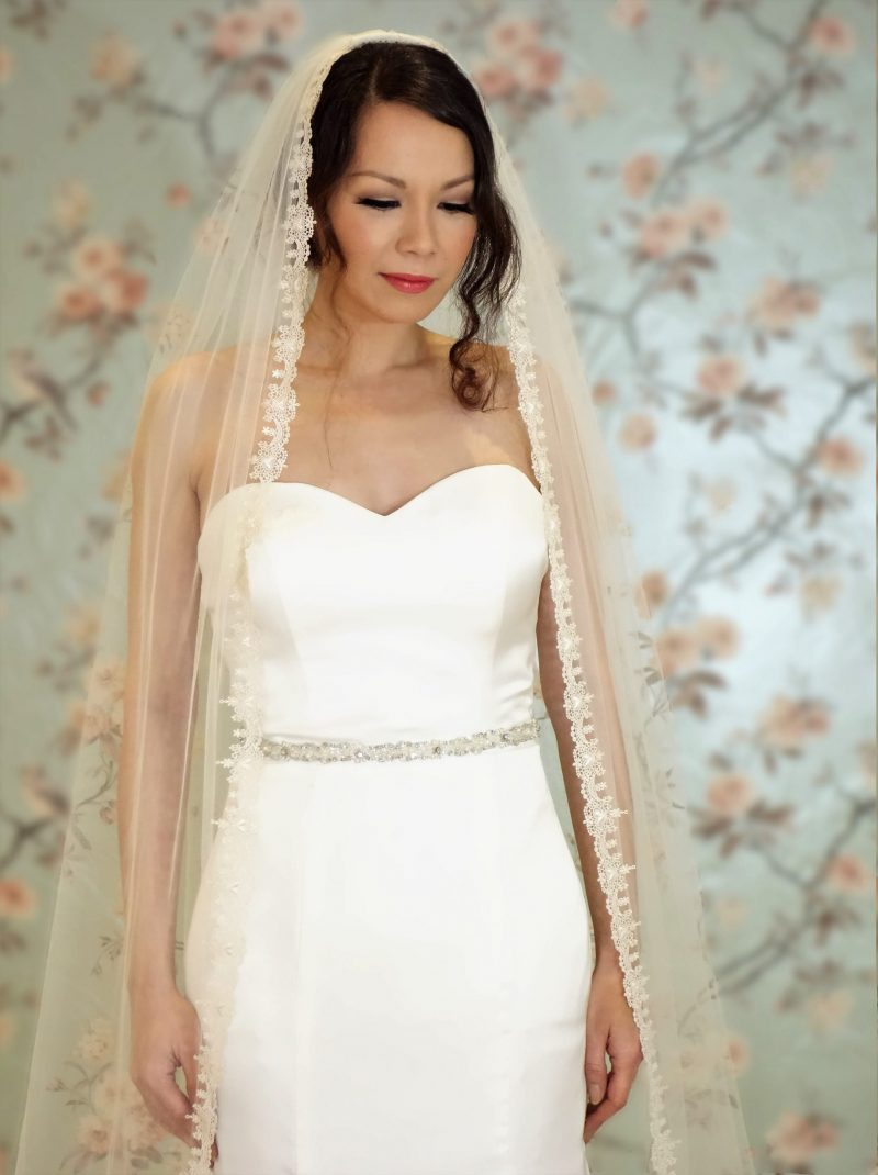 Claddagh Champagne/Ivory Lace Veil