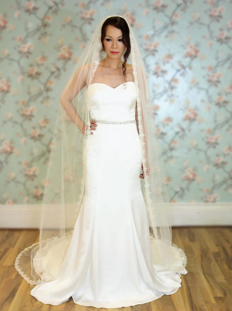 Claddagh Champagne Ivory cathedral length veil