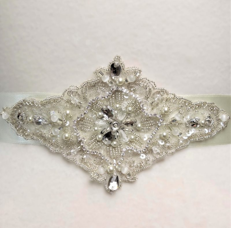 Diamond Beaded Pearl Lace Bridal Belt