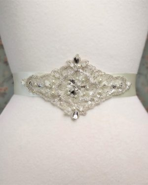 Diamond Beaded Pearl Lace Bridal Belt
