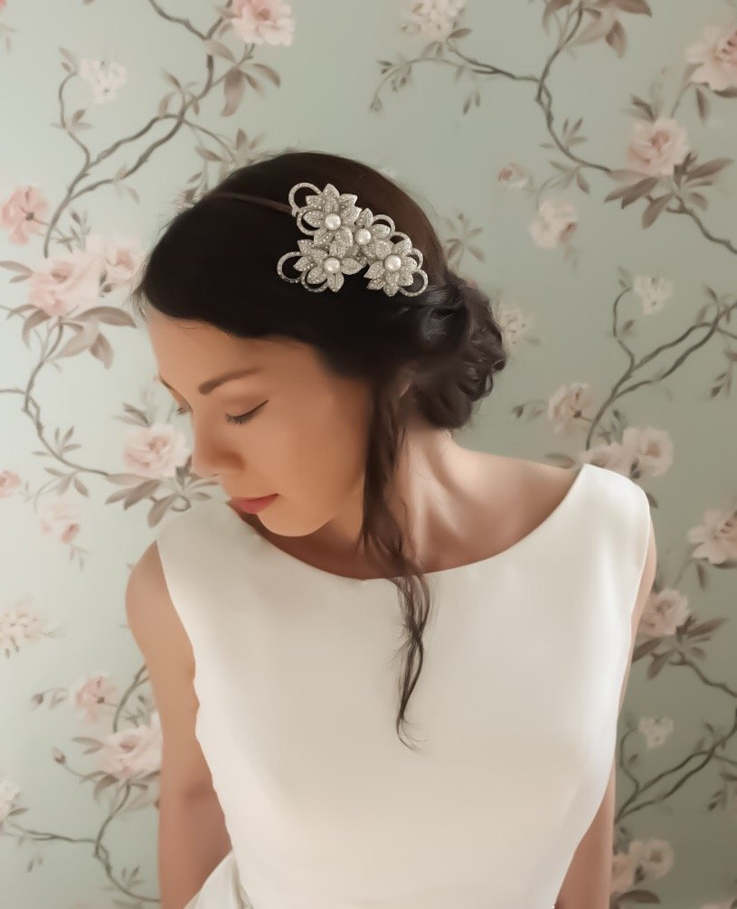 Grande Pearl Flower Bridal Headpiece