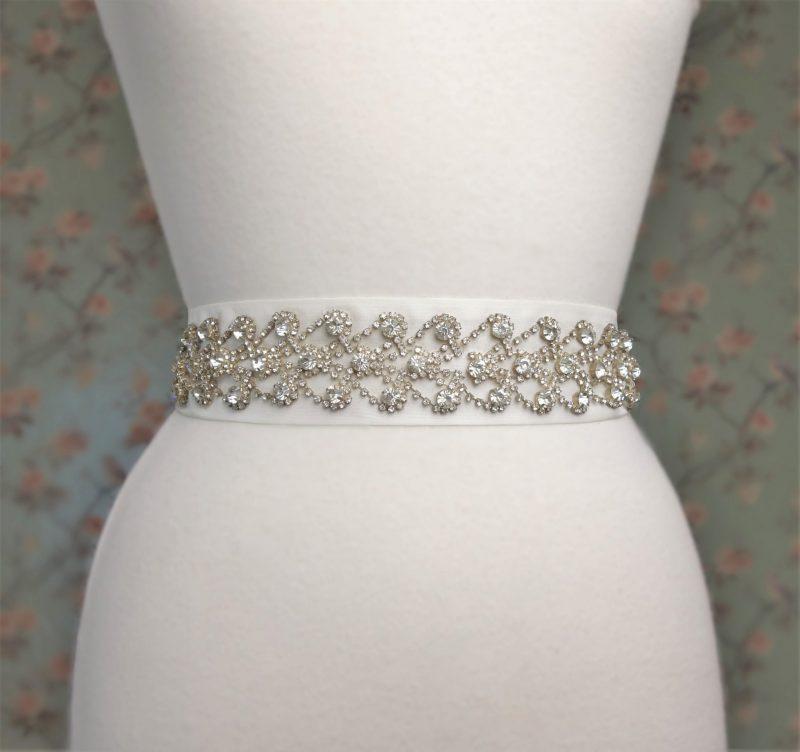 Rhinestone Hearts Bridal Belt