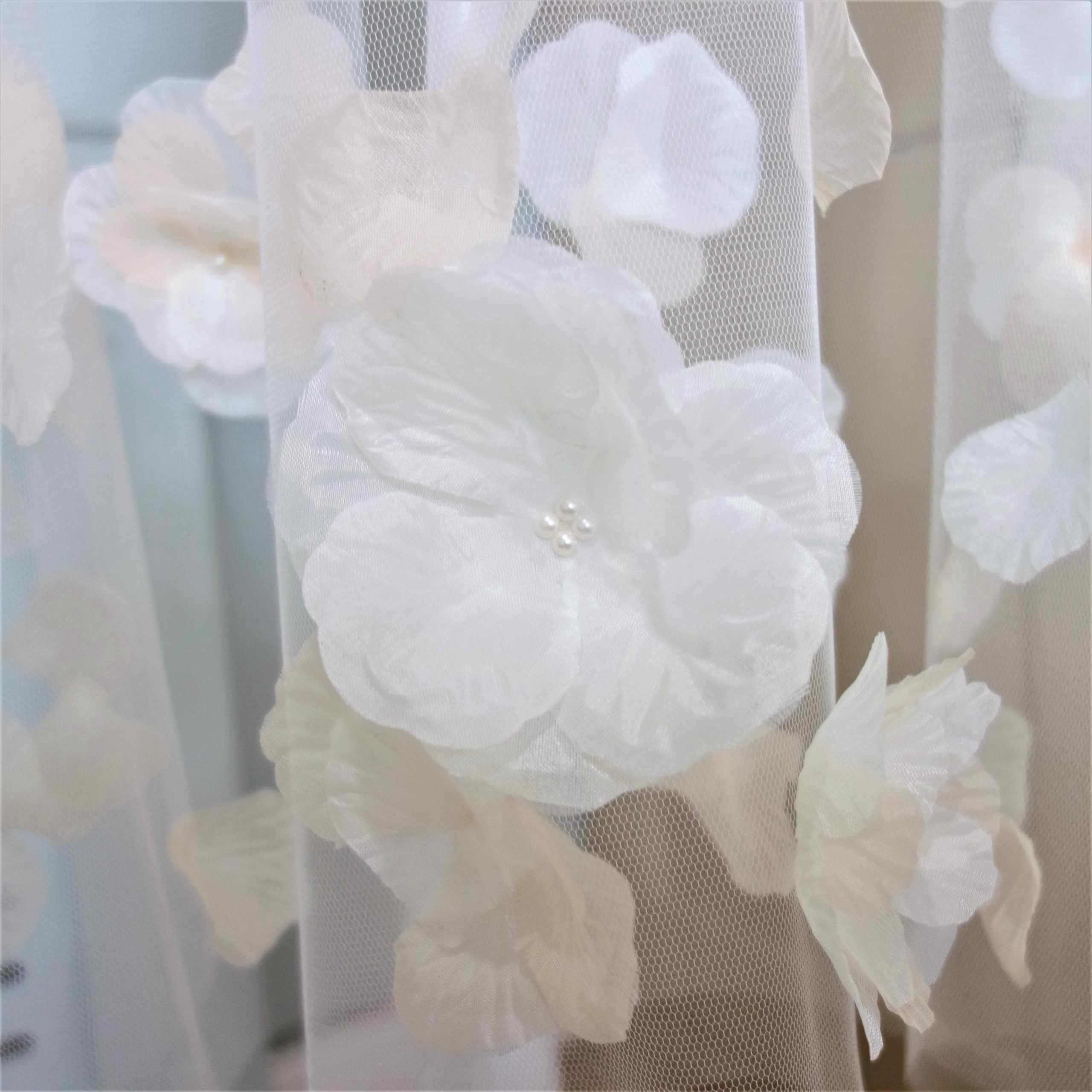 Two Tone Rose Petal Bridal Veil