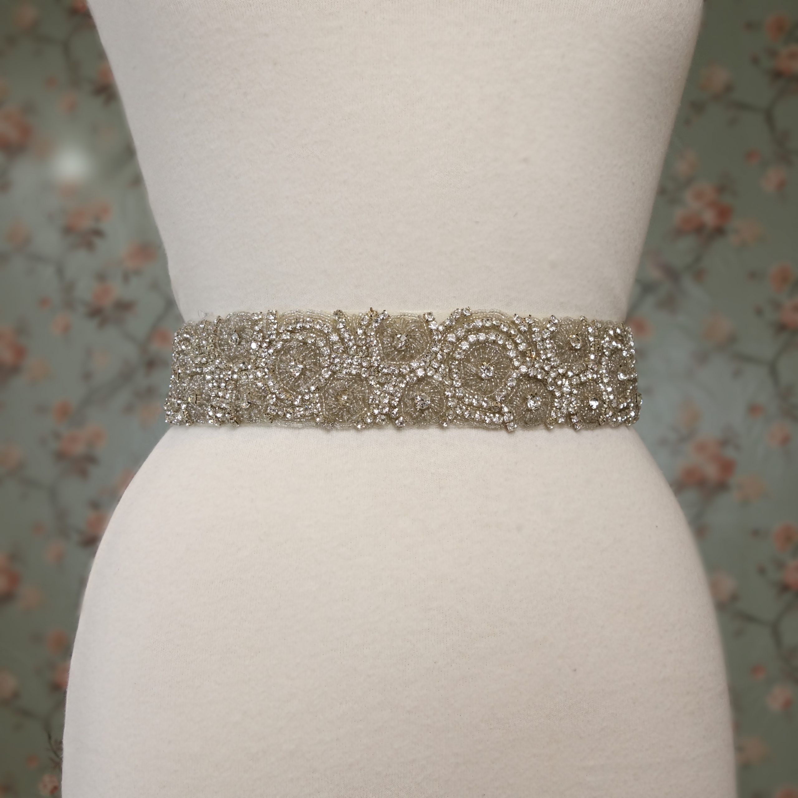 `Wide Rhinestone Swirl Belt
