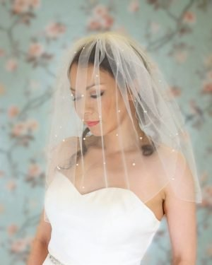 Two tier stitched edge veil with pearls