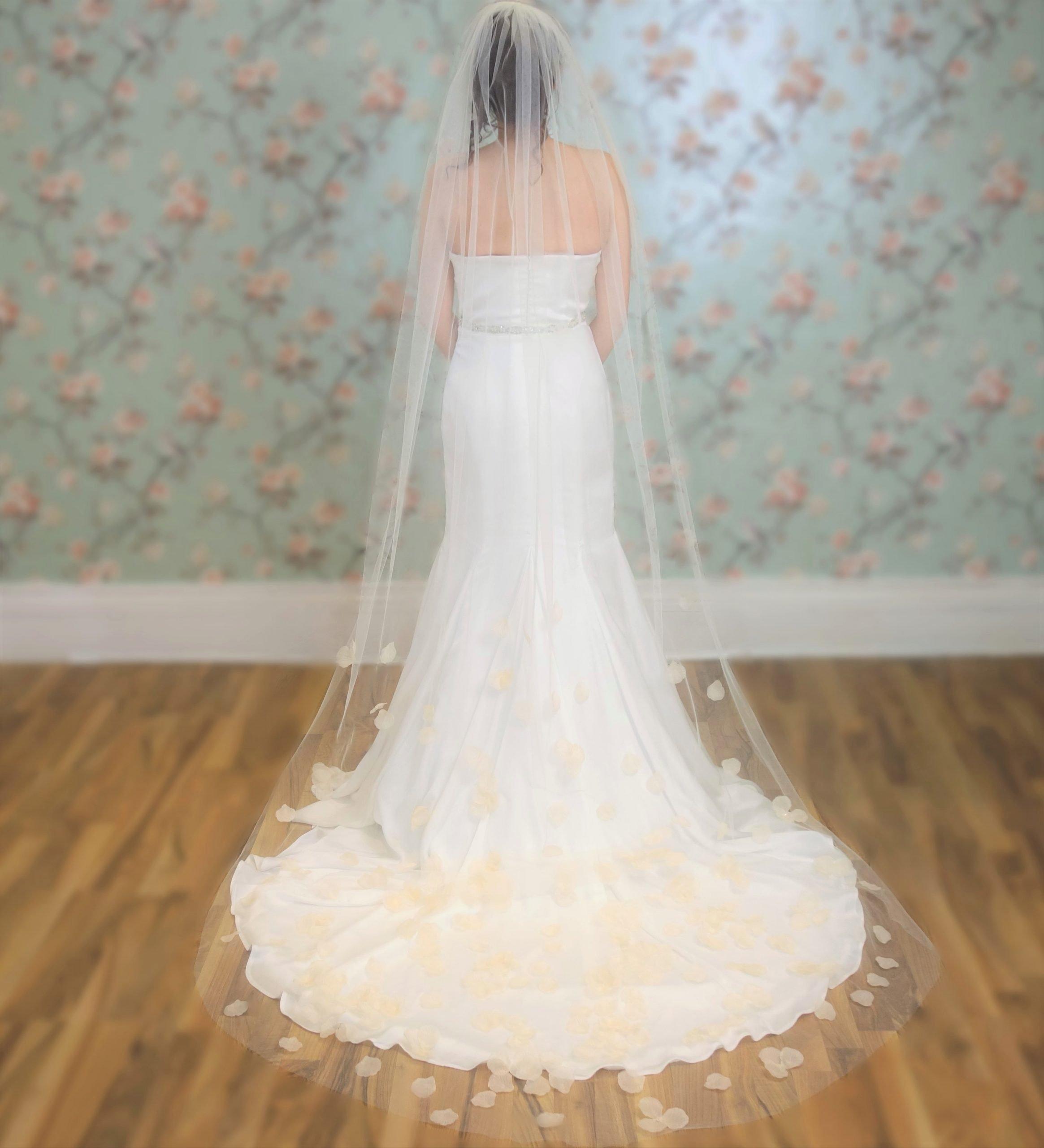Rose Petal Bridal Veil