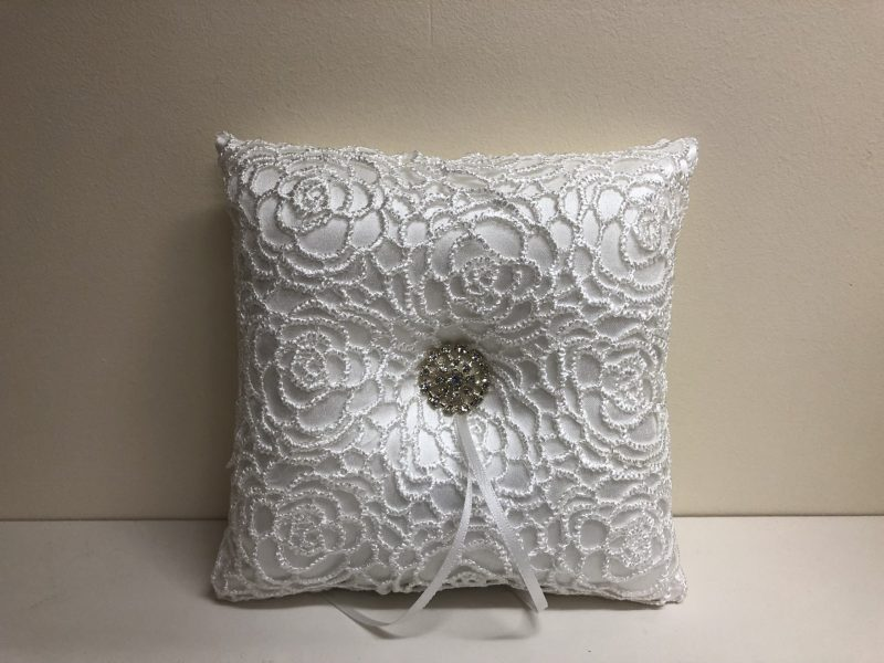 Embroidered Lace Ring Cushion