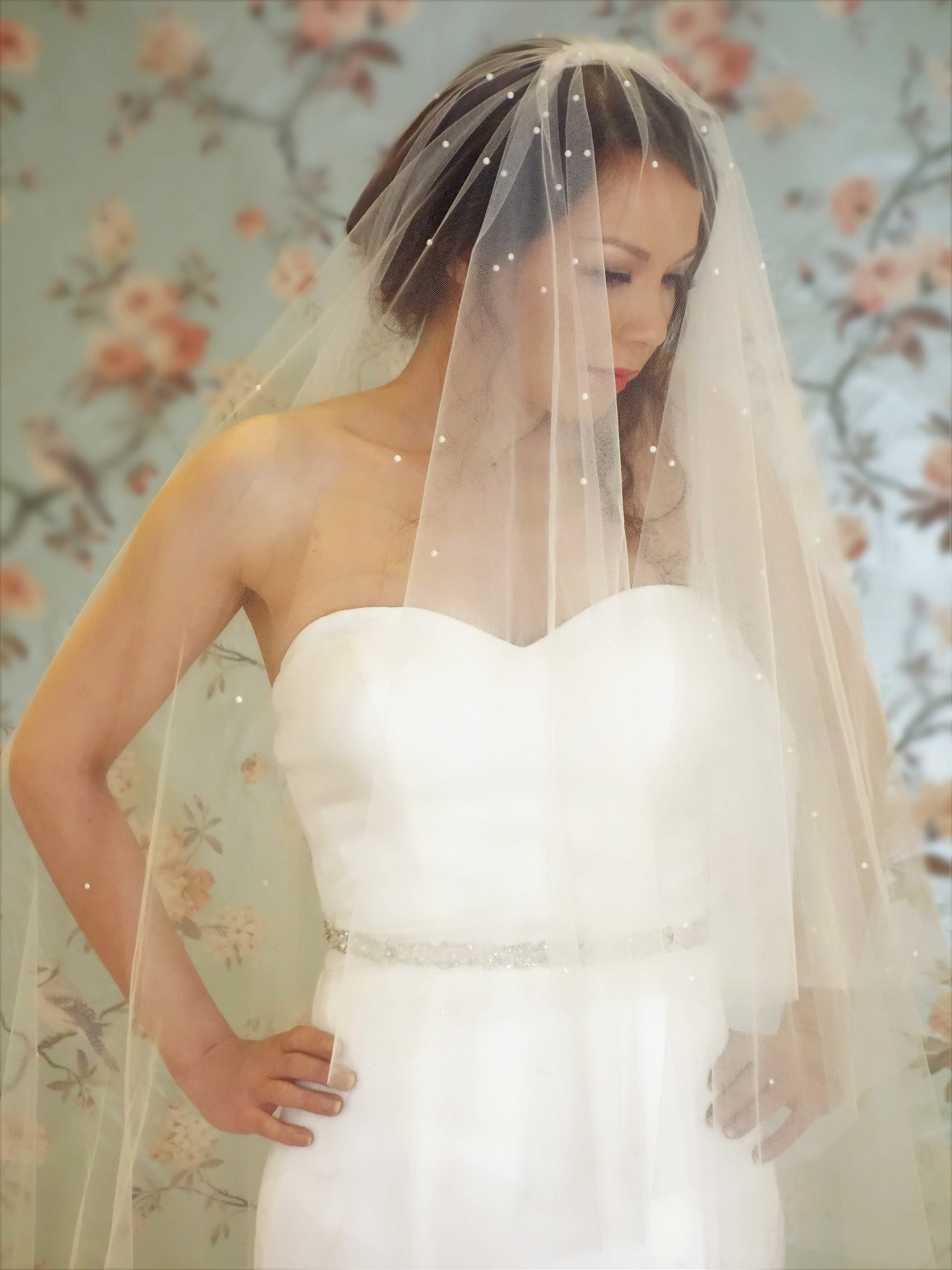 Two tier veil with pearls
