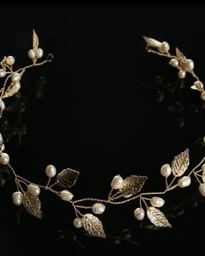 Gold leaves hair wreath