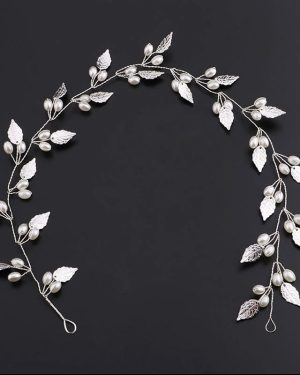 Silver Leaves Hair Wreath