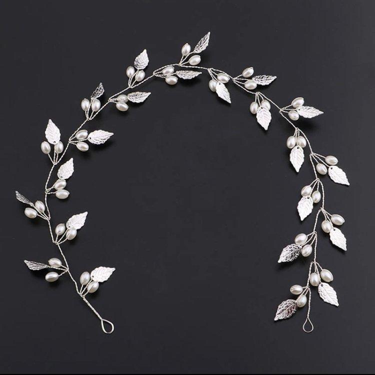Silver Leaves Hair Wreath