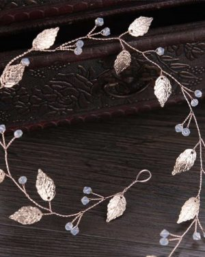 Gold leaves hair wreath