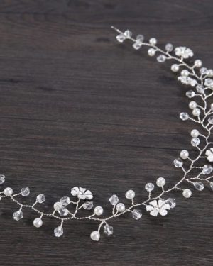Silver flower hair wreath