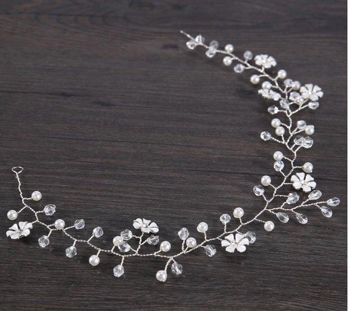 Silver flower hair wreath
