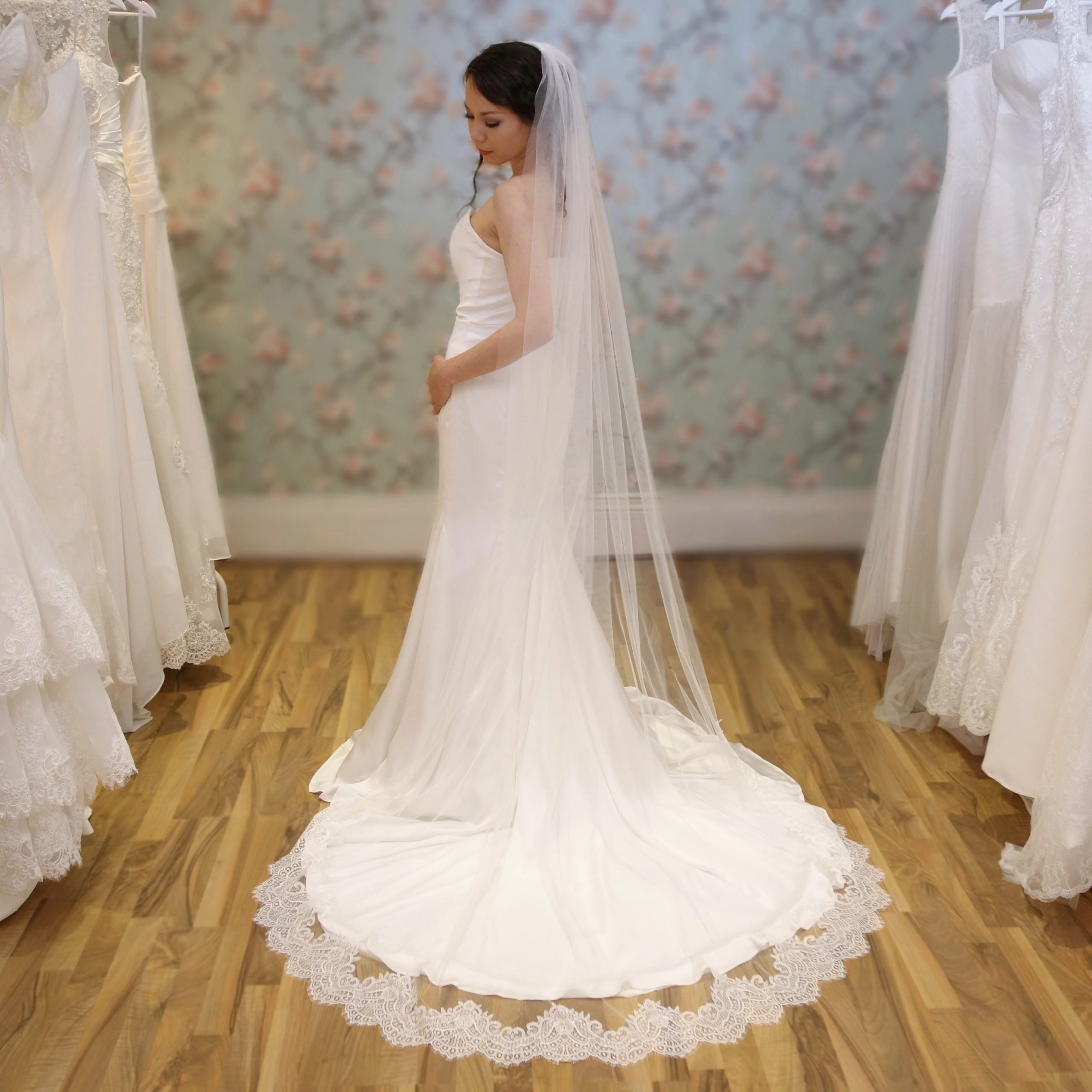 Stella Lace on Pale Ivory Tulle