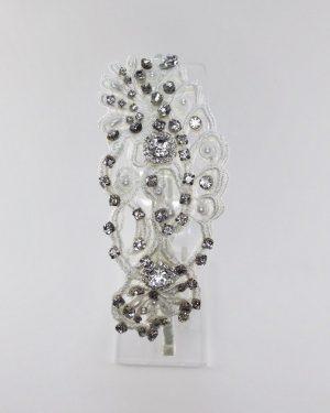 Ivory Pearl & Rhinestone Lace Headpiece