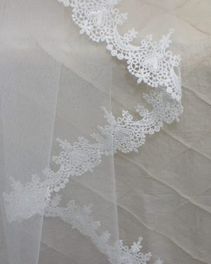 Claddagh Pale Ivory lace on Pale Ivory tulle