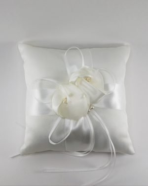 Ivory satin ring cushion