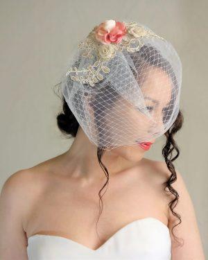 Floral Lace birdcage veil