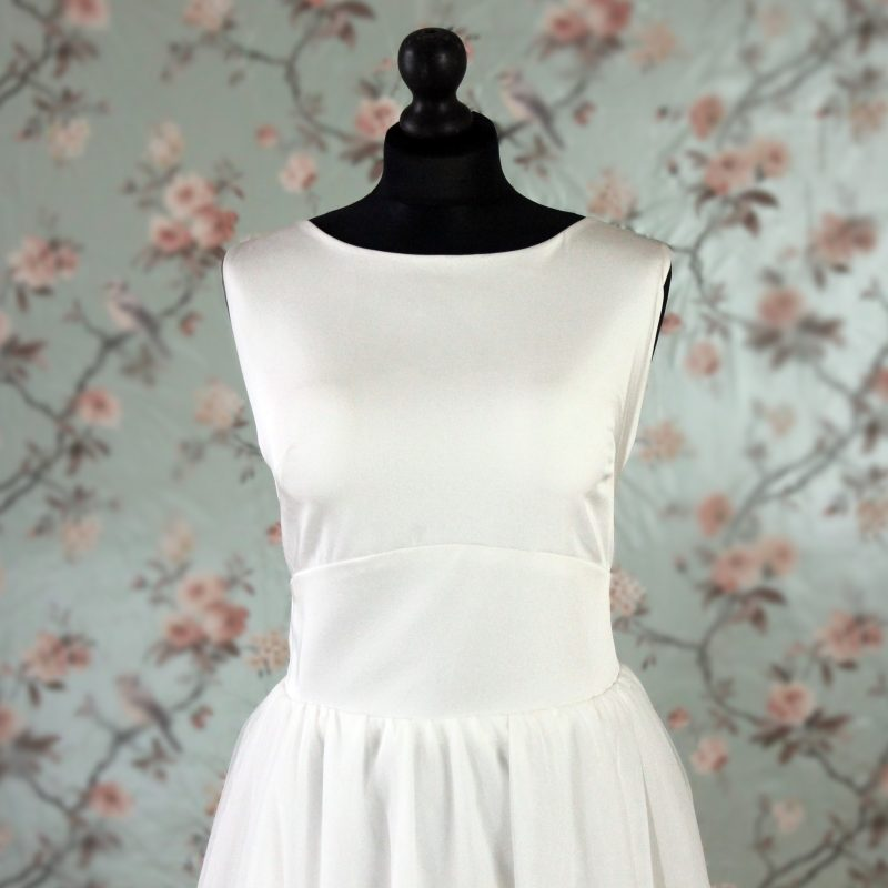 satin and chiffon wedding dress