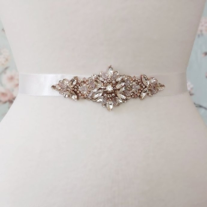 Flower Applique Bridal Belt in Rose Gold