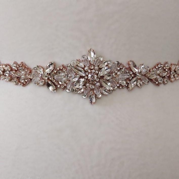 Flower Bridal Belt in Rose Gold