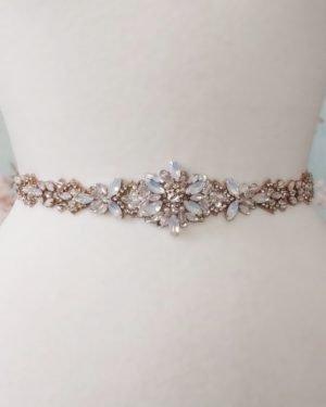 Opal Flower Bridal Belt in Rose Gold