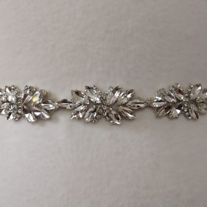 Rhinestone Flower Chain Bridal Belt