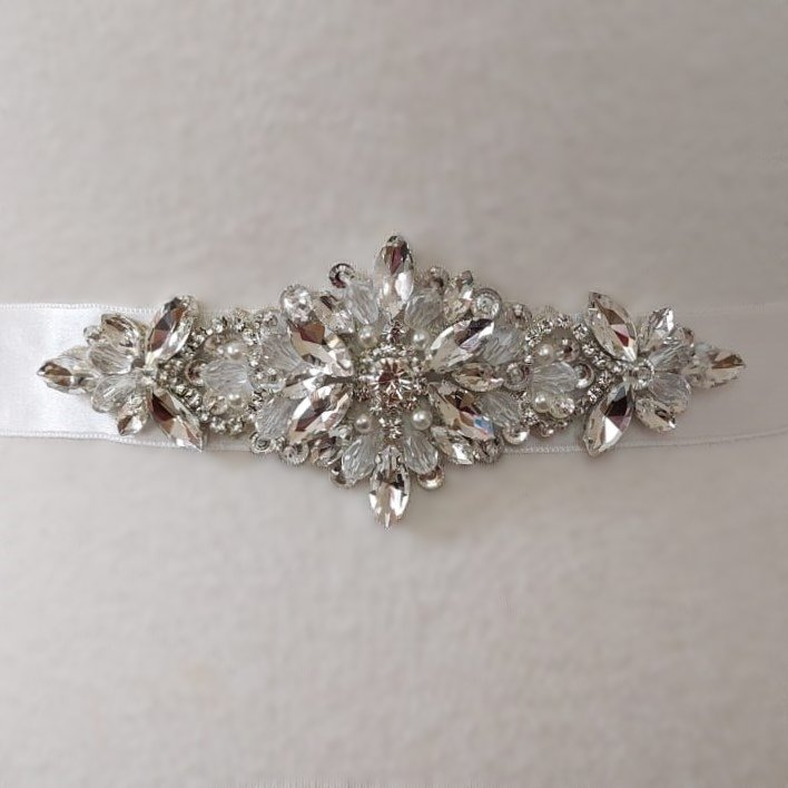 Flower Applique Bridal Belt in Silver