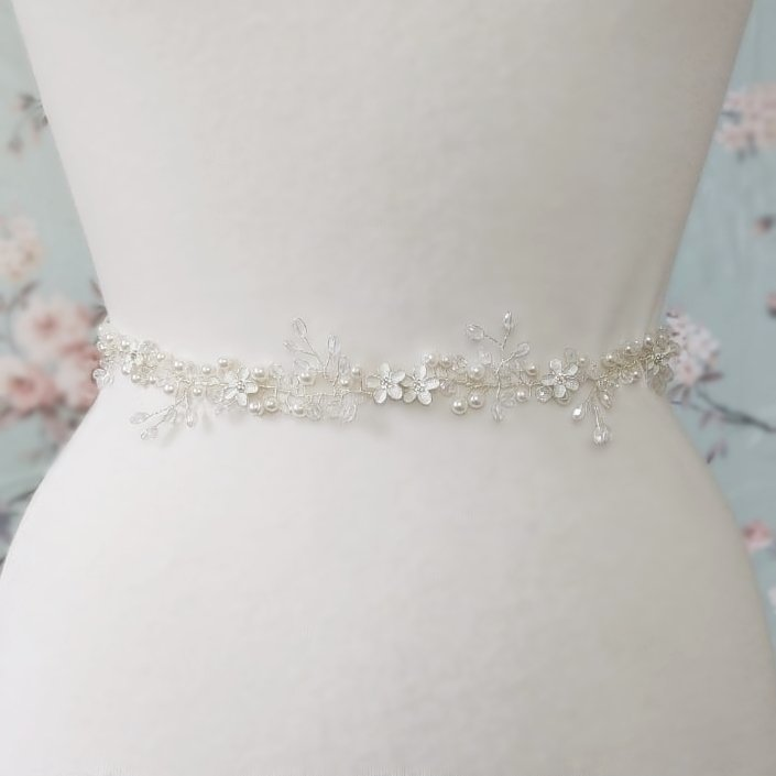 silver flower pearl bridal belt