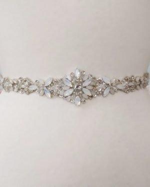 Opal Flower Bridal Belt in Silver