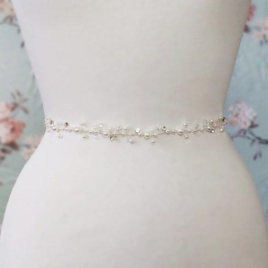 silver pearl bridal belt