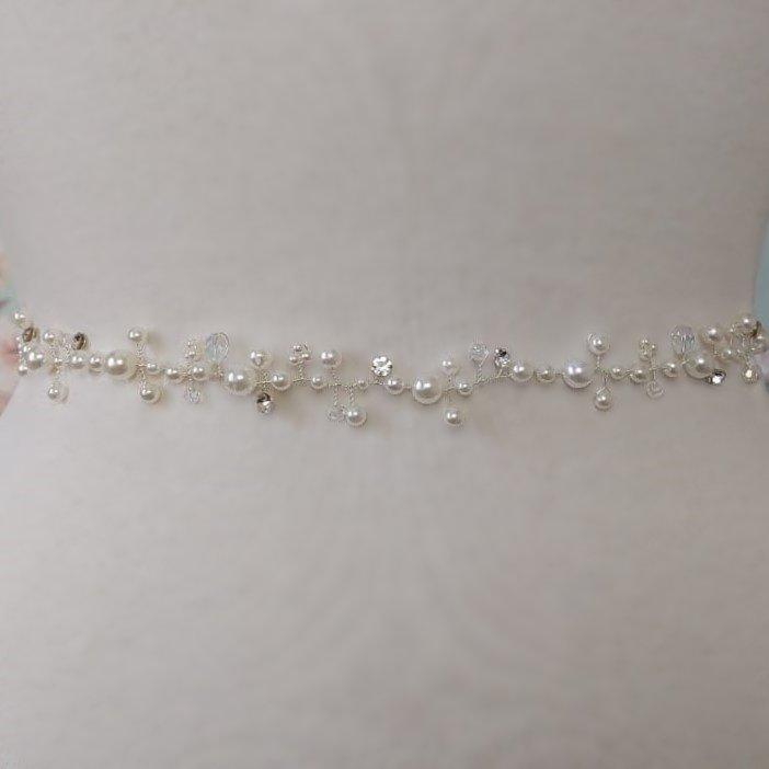 Silver pearl belt