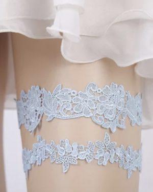 Blue floral lace garter set