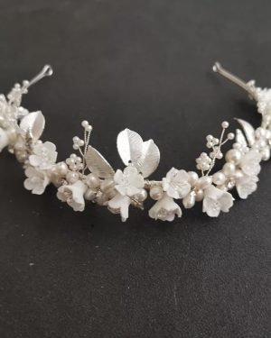 Porcelain Flower Tiara With Freshwater Pearls