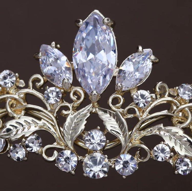 Gold zirconia tiara